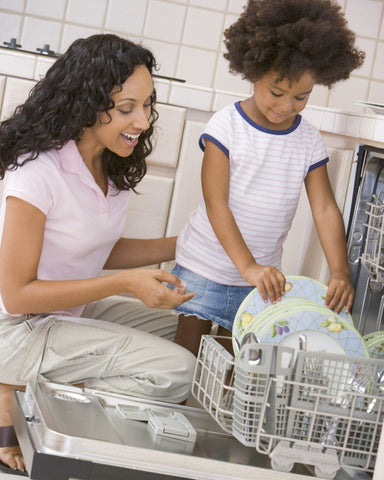 Mother And Daughter Loading Dishwasher