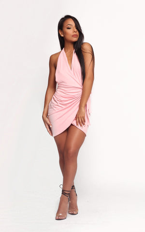 NYLA PINK WRAP MINI SKIRT