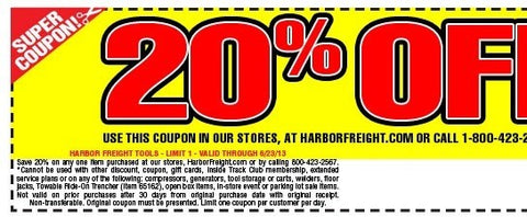 Harbor Frieght 20% off coupon