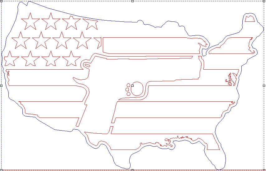 USA Flag with 1911 Revolver in Center - DXF File Only
