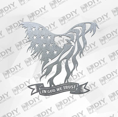 USA Flag - Eagle In God We Trust Sign -  Plasma Laser DXF Cut File
