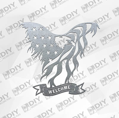 USA Flag - Eagle Welcome Sign -  Plasma Laser DXF Cut File