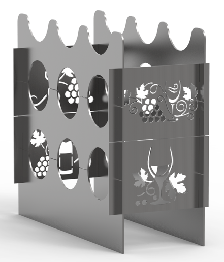 **NEW!** Wine Rack for 9 Bottles of Wine - Plasma Laser DXF Cut File