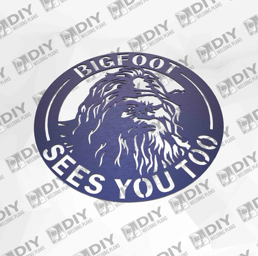 "12"" Bigfoot Sees you too Sign DXF Plasma File"