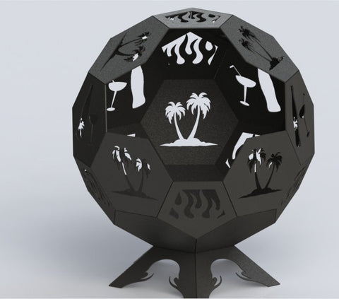 Fire Pit Hexagon Ball of Awesomeness 24in - Connected Pieces (For Bending) - DXF File