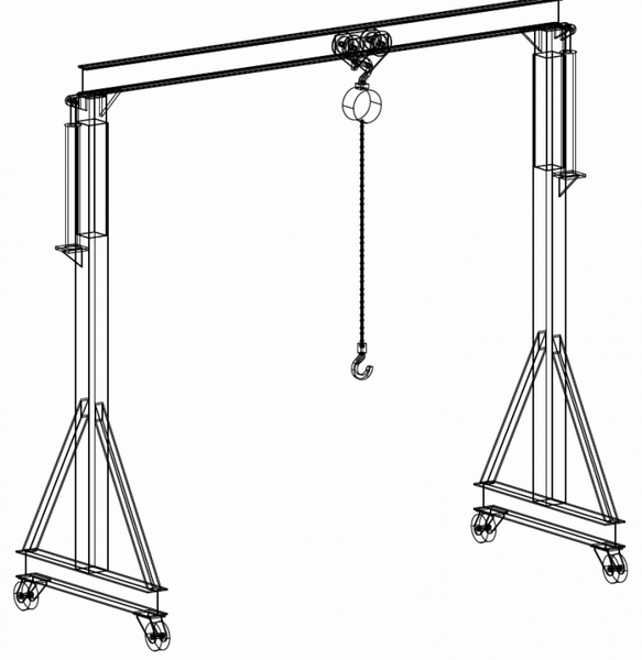 2 ton gantry crane welding plans diy welding plans for Shop hoist plans