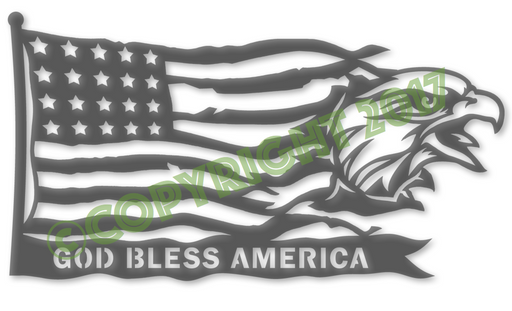 God Bless America Eagle Head Flag Plasma Laser DXF Cut File