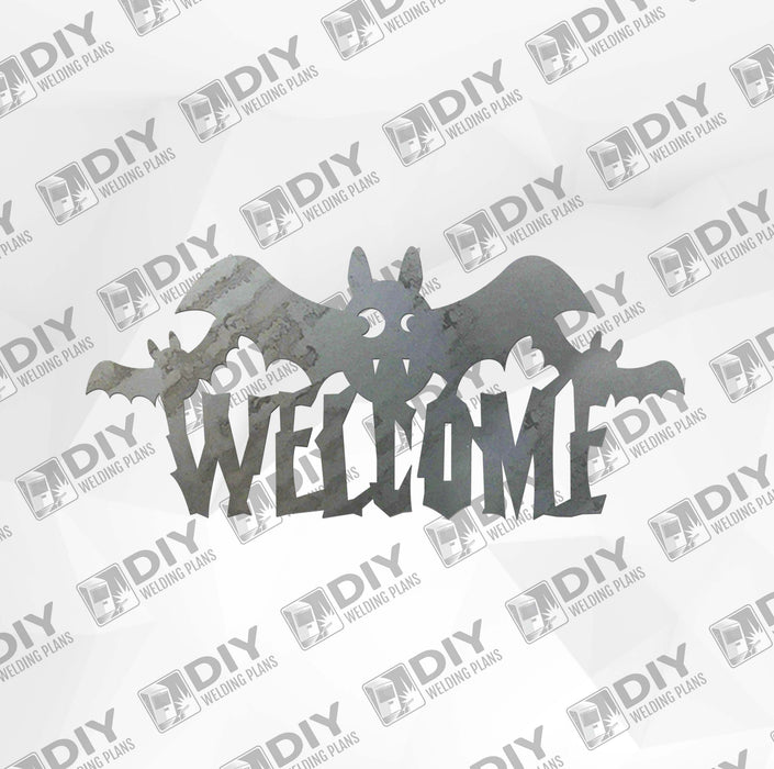 Halloween Bat 4 Welcome Sign DXF Plasma File