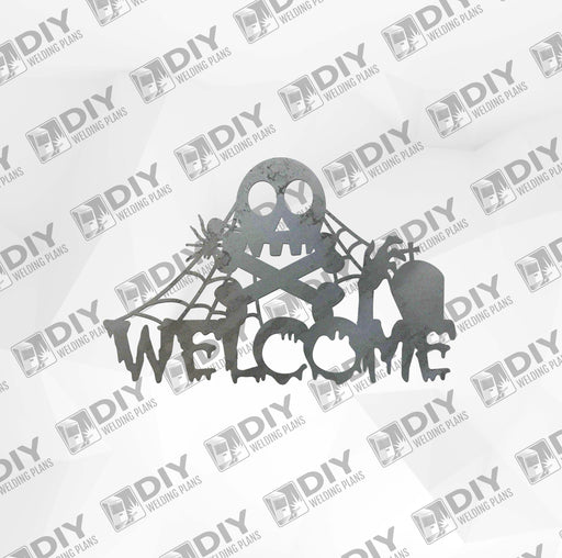 Halloween Skeleton Welcome Sign DXF Plasma File
