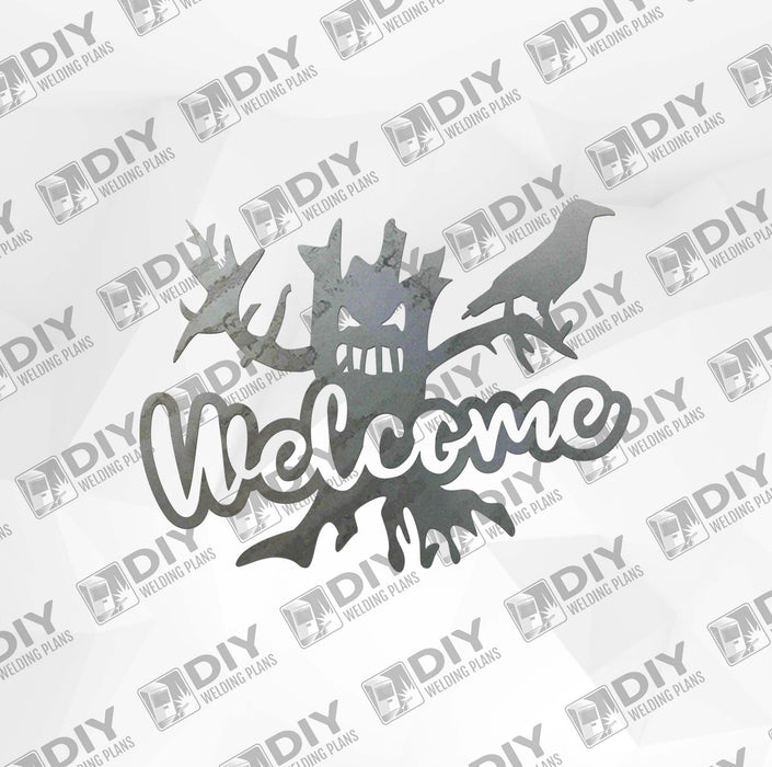 Halloween Tree Welcome Sign DXF Plasma File