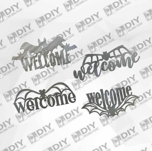 Halloween Bat Bundle - 4 Bat Welcome Signs - DXF Plasma File