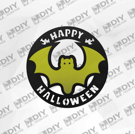 2 - layer Happy Halloween Bat Sign DXF Plasma File