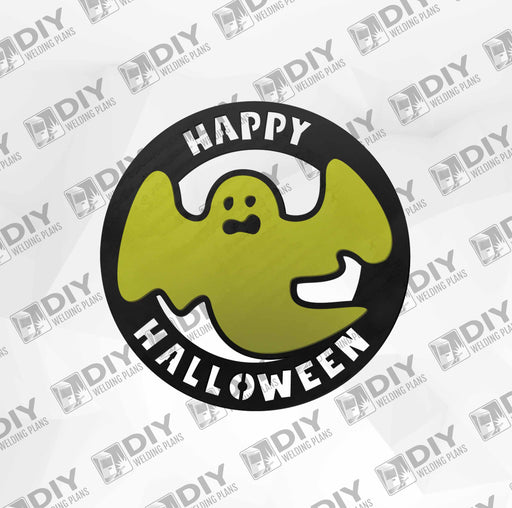 Happy Halloween Ghost Sign - 2 layer - DXF Plasma File