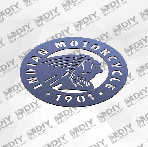 "12"" Indian Motorcycle 1901 Sign DXF Plasma File"