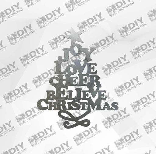 Joy Love Cheer Believe Christmas DXF Plasma File