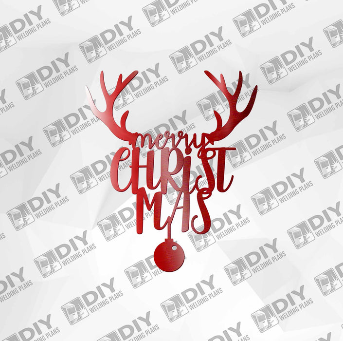 Merry Christmas Deer with Ball DXF Plasma File