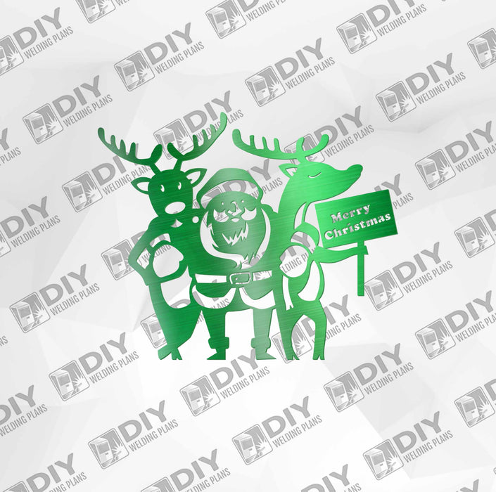 Merry Christmas Santa and Reindeers DXF Plasma File