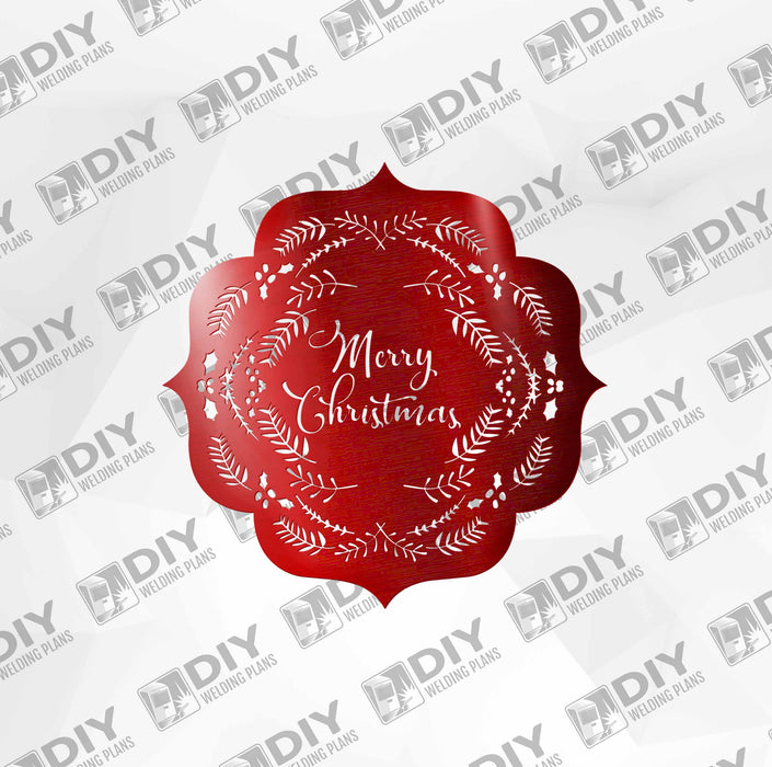 Merry Christmas with Leaves and Ornaments DXF Plasma File