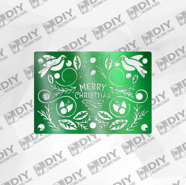 Merry Christmas with Ornaments and Birds DXF Plasma File
