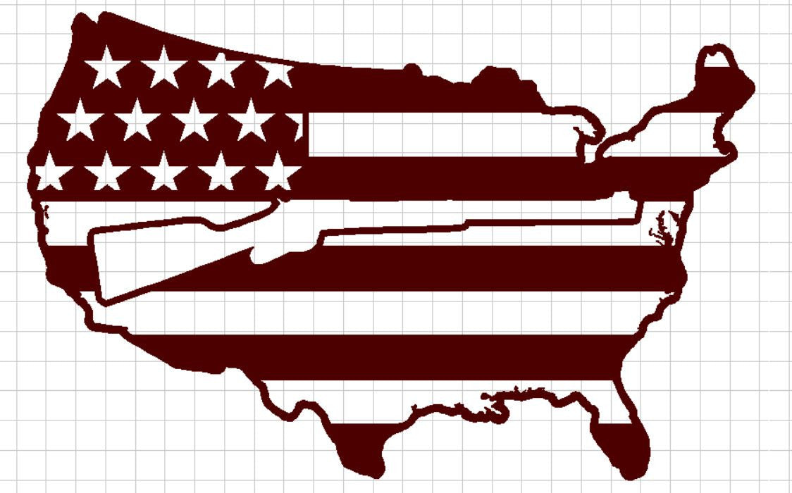 USA Flag with Old Rifle in center - DXF File Only