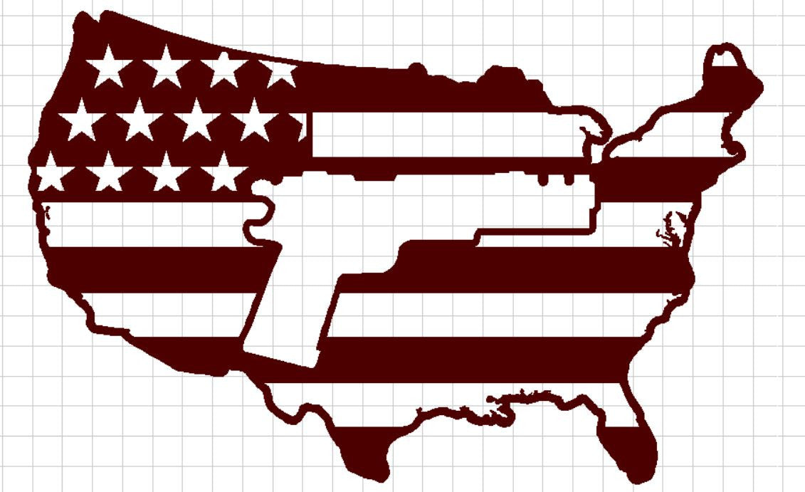USA Flag with Pistol in Center - DXF File Only