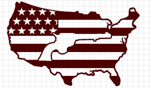 USA Flag with Revolver in Center - DXF File Only