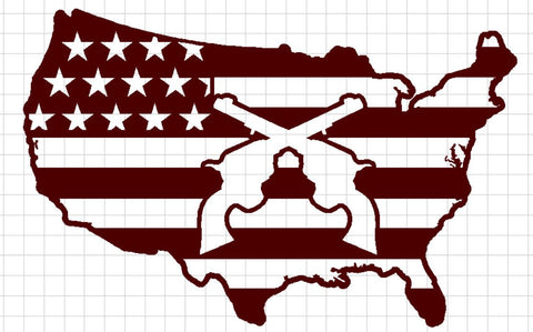 USA Flag with Revolvers Crossed in Center - DXF File Only