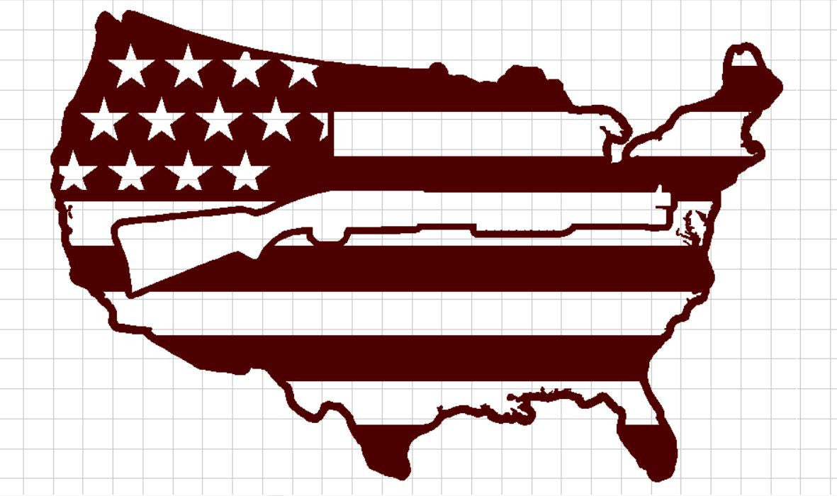 USA Flag with Shotgun in center - DXF File Only