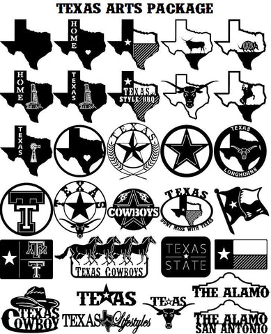Texas State Cutouts Horses Texas Star Cowboy Hat A&M Longhorns (30-Pack Texas) - DXF File