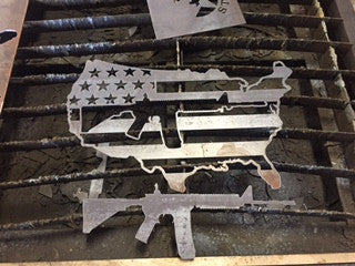 USA Flag with AR 15 in center - DXF File Only