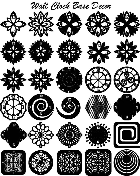 Wall Clock Face Background Decor for Clock Making (30-Pack of Clock files included) - DXF File