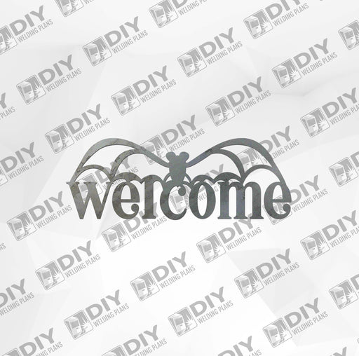 Halloween Bat 1 Welcome Sign DXF Plasma File