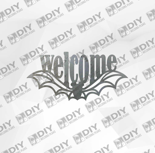 Halloween Bat 2 Welcome Sign DXF Plasma File