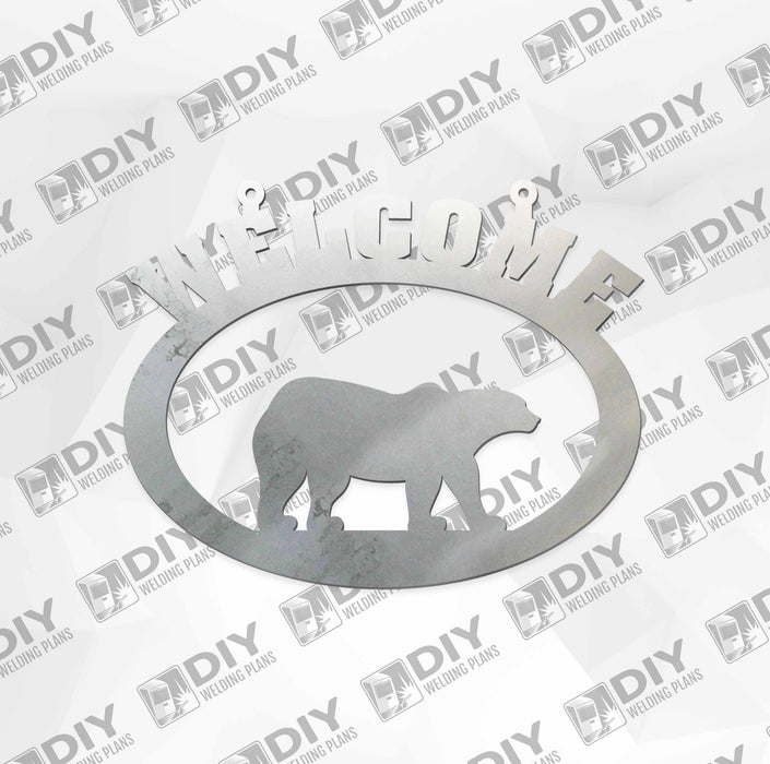 "18"" x 15"" Welcome Bear Sign DXF Plasma File"