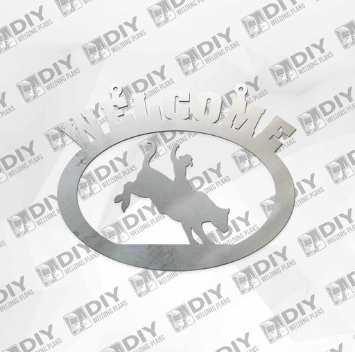"18"" x 15"" Welcome Bull Riding Sign DXF Plasma File"