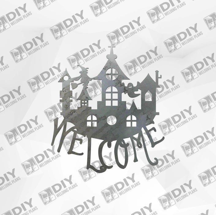 Halloween Castle 1 Welcome Sign DXF Plasma File