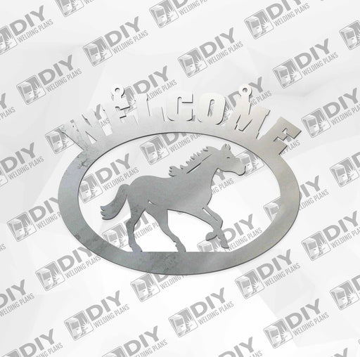 "18"" x 15"" Welcome Horse Sign DXF Plasma File"
