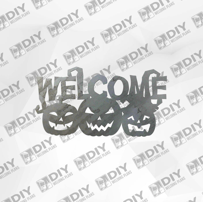 Halloween Jack-o'-lantern Welcome Sign DXF Plasma File