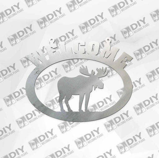 "18"" x 15"" Welcome Moose Sign DXF Plasma File"