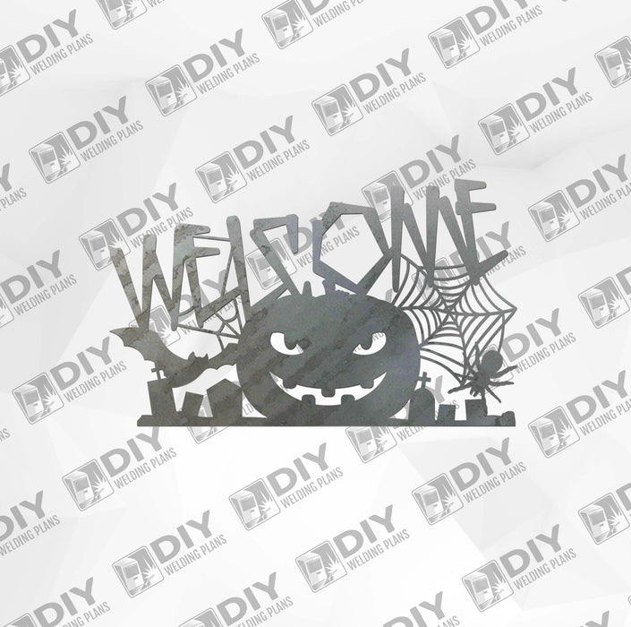 Halloween Pumpkin Welcome Sign DXF Plasma File