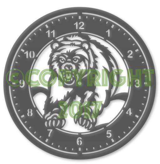 "14"" Bear Clock DXF Plasma File"