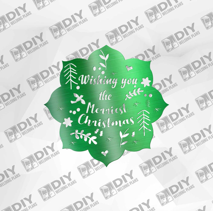"26"" x 26"" Wishing You the Merriest Christmas DXF Plasma File"