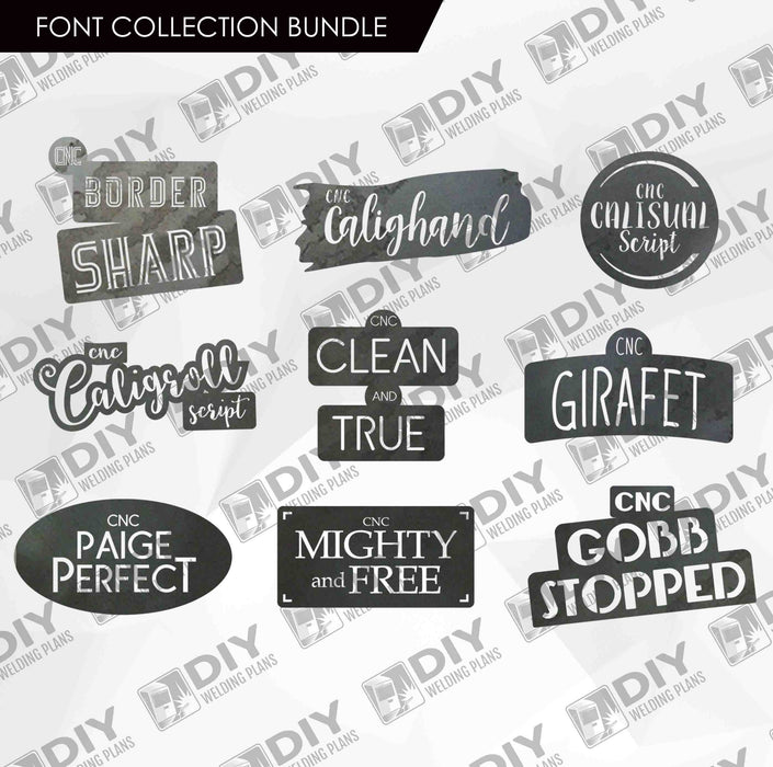 CNC Font - Font Collection Bundle - 9 Custom Fonts for CNC