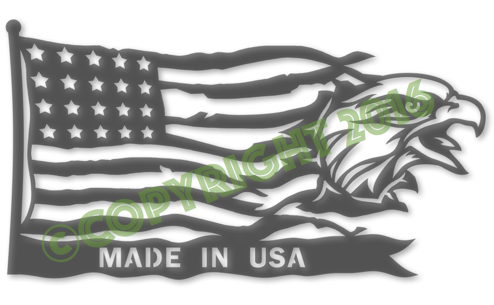 Made in USA Eagle Head Flag Plasma Laser DXF Cut File