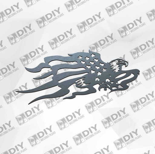 Eagle Flying Usa Flag - DXF File Only