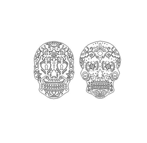 2 - Pack: Candy Sugar Skull Key Hole and Flower DXF Plasma File