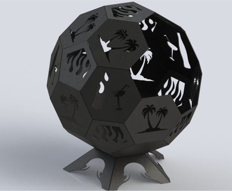 Fire Pit Hexagon Ball of Awesomeness 36in - Connected Pieces (For Bending)  - DXF - Fire Pit Hexagon Ball Of Awesomeness 36in - Connected Pieces (For
