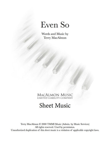 Even So-Sheet Music (PDF Download) + Lead Sheet