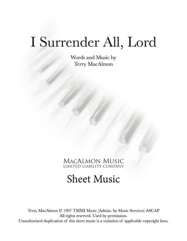 I Surrender All, Lord-Sheet Music (PDF Download) + Lead Sheet
