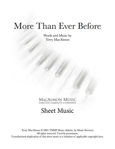 More Than Ever Before-Sheet Music (PDF Download) + Lead Sheet